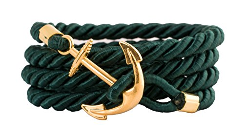 Geralin Gioielli Damen Armband Anker in Gold Petrol Grün Unisex Handmade