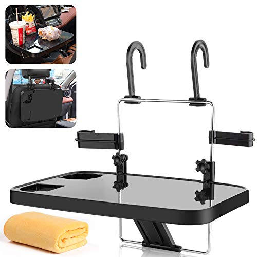 AutoChoice Foldable Car Seat Back Portable Tray for Food Dining Drink and Laptop, Hanging Car Steering Wheel Tray (Black)