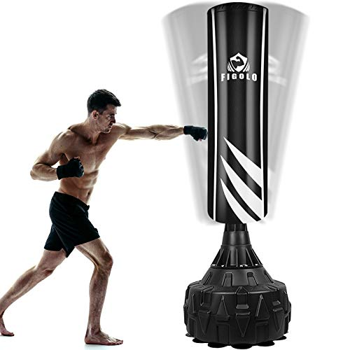 Figolo Freestanding Punching Bag with Suction Cup Base for Adult Youth,Heavy Boxing Bag with Stand,Kickboxing Bag | Black