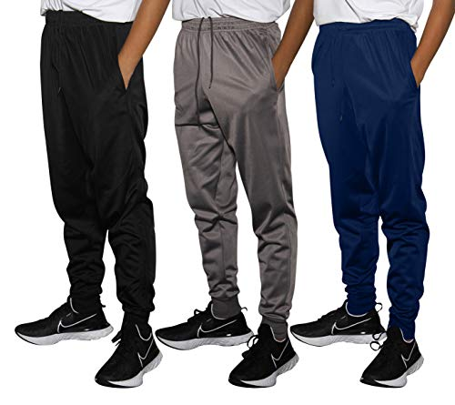 Real Essentials 3 Pack Boys Tricot Sweatpants Joggers Track Pants Athletic Workout Gym Apparel Training Fleece Tapered Slim Fit Tiro Soccer Casual,Set 4,XL (18/20)