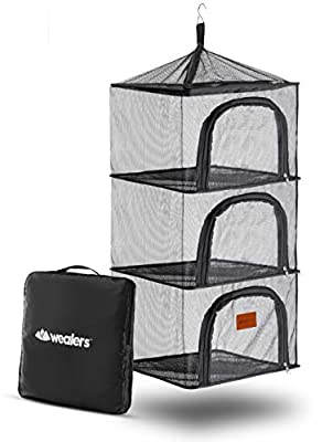 Wealers Outdoor Dry Net Storage and Food Screen 3-Tier Camping, Barbecue, Picnic Meal Protection Organizer | Repel Bugs and Insects | Faster Herb, Clothes, Dish Drying | Foldable (Hanging Dry Net)