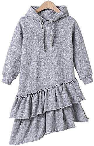 FAYFMA Sudadera Infantil Falda Ropa para niños, Ropa de otoño de niños Grandes, Suéter de Las niñas de Mediana Mano (Gris) Grey- 130cm