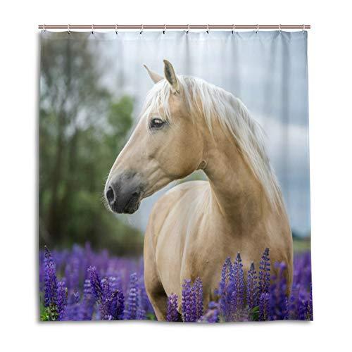 CPYang Duschvorhang, Blume, Lavendel, Pferd, wasserdicht, schimmelresistent, 168 x 182 cm, mit 12 Haken