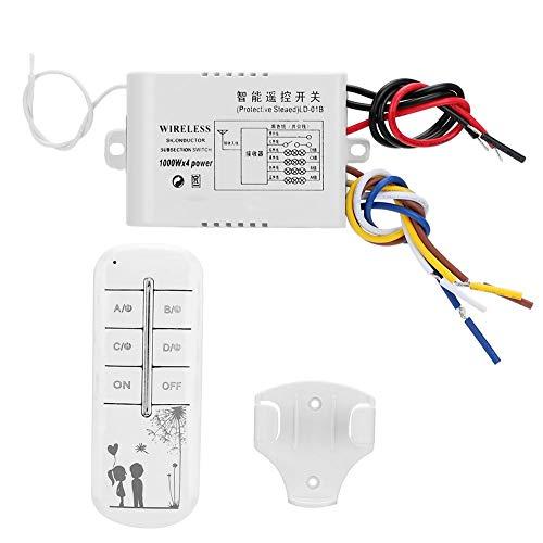 Interruptor de pared de luz, ABS de 4 vías encendido/apagado, con base de control remoto AC 180-240V 50Hz para lámpara de cristal Lámpara moderna de baja presión