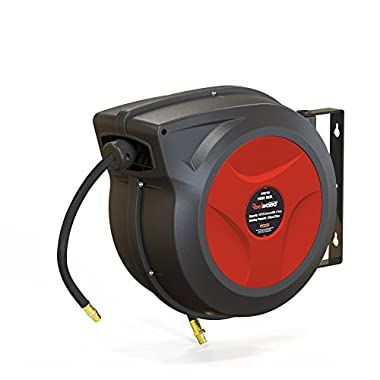 ReelWorks 27807153A Plastic Retractable Air Compressor/Water Hose Reel with 3/8  x 50' Hybrid Polymer Hose, Max. 300 psi