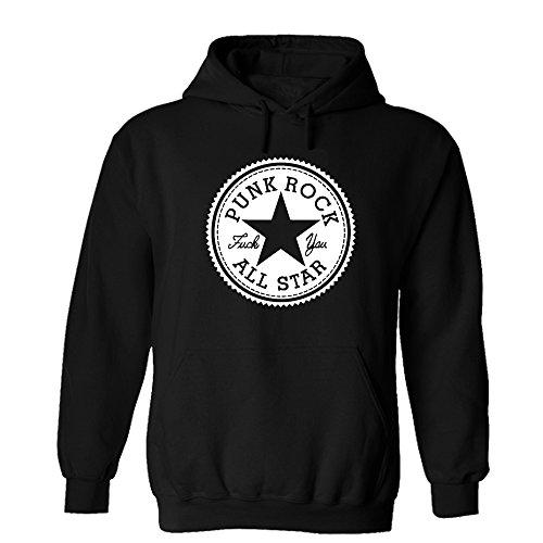 Punk Rock All Star Hoodie Fuck You Seitendruck Sweatshirt Pullover Schwarz (XXL, Schwarz/Weiss)