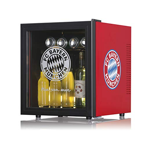 Bayern München Mini Kühlschrank 48 Liter   Ohne Gefrierfach, Freistehend, mit Glastür, unterwegs und im Auto verwendbar   Temperaturbereich 5-12 °C [68 Watt]