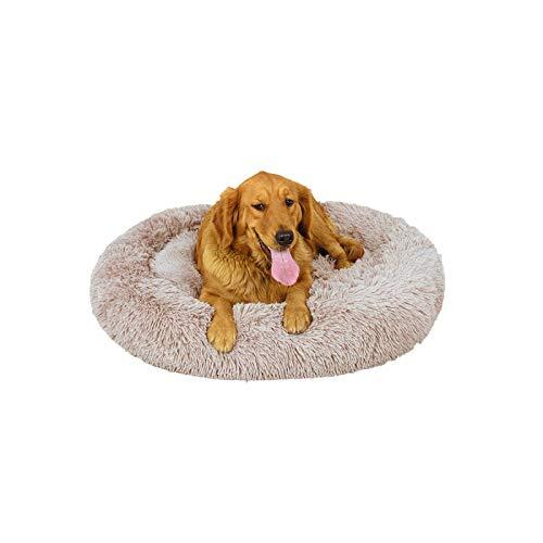Cama redonda de peluche para perros y gatos, con forma de donut (caqui, diámetro de 80 cm)