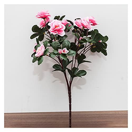 DXM Künstliche Blume Azalee, Azalee Künstliche Blume Seide Blumenbeet, Vier Jahreszeiten Blumen Blumen Blütenblätter für Einkaufszentrum Exterieur Technik Zaun Blumenbeet Dekorative Blume (rot)