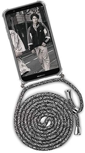 ONEFLOW® Handykette + Hülle passend für Huawei P Smart (2017) | Stylische Kordel Kette - Kristallklare Handyhülle mit Band zum Umhängen in Schwarz Grau Weiß