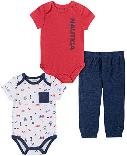 Nautica Sets (KHQ) - Conjunto de Pantalones para bebé y niño, Rojo/Azul Marino, 6-9 Meses