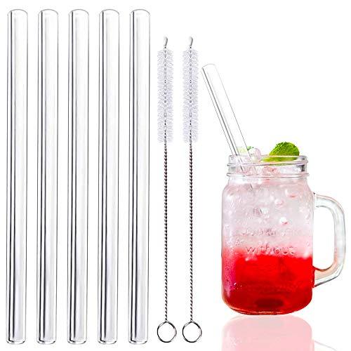 Annvchi Strohhalm Glas, Glasstrohhalme Wiederverwendbar, 15CM Transparent Breite Glasstrohhalme, Geeignet für Cocktail Glas, Gesund, Umweltschonend, frei von BPA