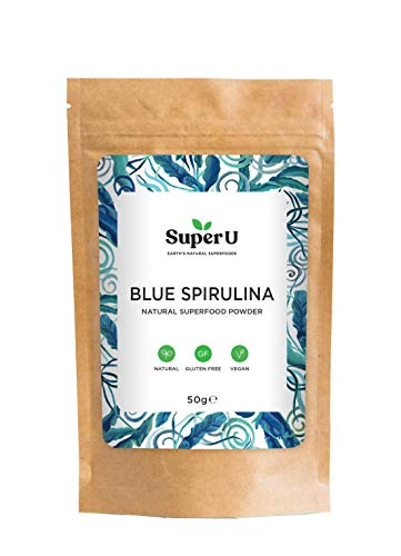 Blue Spirulina Powder by Super U - 100% Natural Phycocyanin Powder 50g (50 servings), Natural Blue Food Colouring