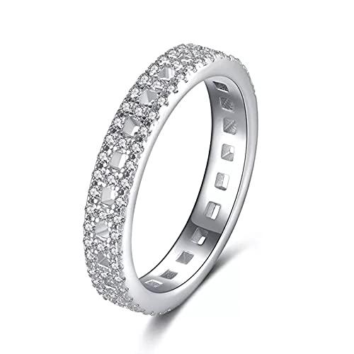 BAJIE Anillo de Boda Joyas de Platino Diamante Anillo de Piedras Preciosas para Mujer Origen Caja de Anillo de Diamante
