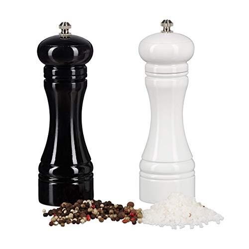 Relaxdays, schwarz-weiß Gewürzmühle Holz, 2er Set, Keramikmahlwerk, manuell, klein, H x B x T: 18 x 6 x 6 cm, klassisch, Standard