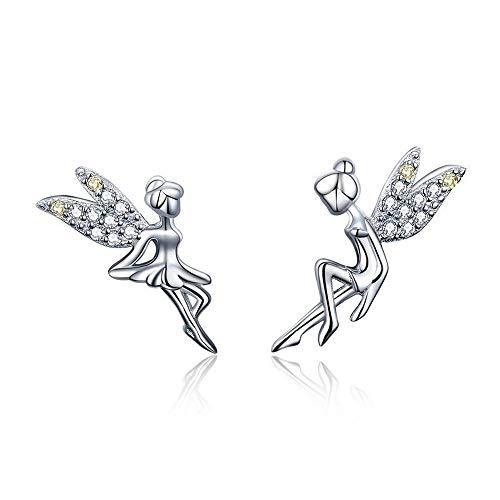 Shabana 925 Sterling Silver Fairy Earrings with Zircon Wings – Valentine's Day Gift Idea for Women – Original Jewellery