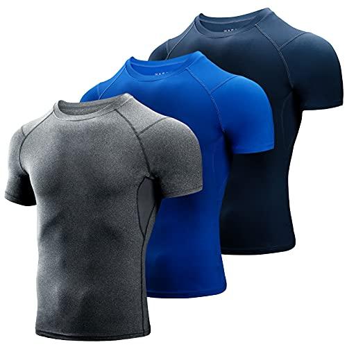 Niksa 3 Piezas Camiseta Compresión Hombre,Deportiva para Hombre Amiseta de Manga Corta Camiseta Entrenamiento Hombre Diseño de Malla Transpirable Secado rápido para Running Gym Ciclismo