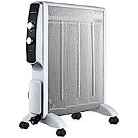PURLINE MR2000W Calefactor Radiador Eléctrico Bajo consumo con Panel de Mica hasta 2000 W Color Blanco con Ruedas y Termostato