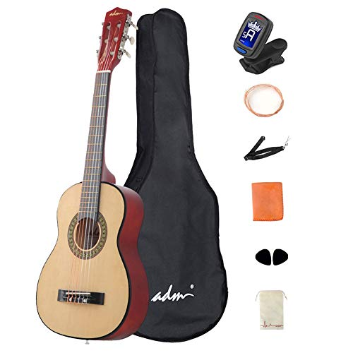 ADM Beginner Acoustic Classical Guitar 30 Inch Nylon Strings Wooden Guitar Bundle Kit with Carrying Bag & Accessories, Nature