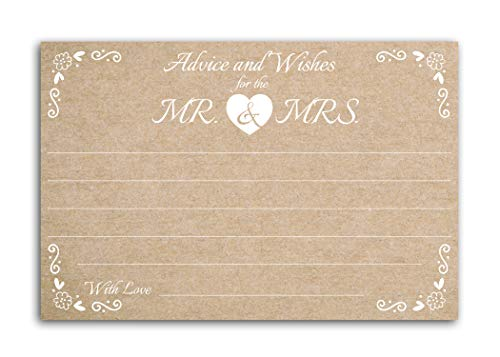 Home Advantage 4x6 Vintage Kraft Advice and Wishes for The Mr. & Mrs. Cards, Set of 50