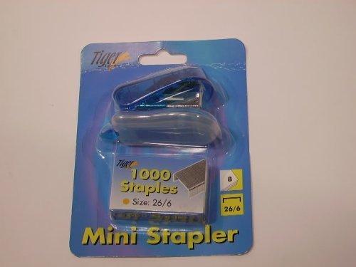 Pequeña grapadora con 1.000grapas marca Tiger, azul