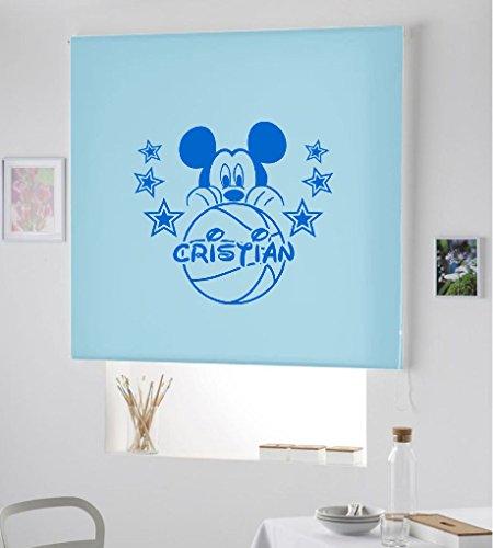 Desconocido Estor Infantil Enrollable TRANSLUCIDO Dibujo Mickey con Nombre. ESTORES Infantiles con Nombre HABITACION NIÑO- (Azul Celeste, 160X175)