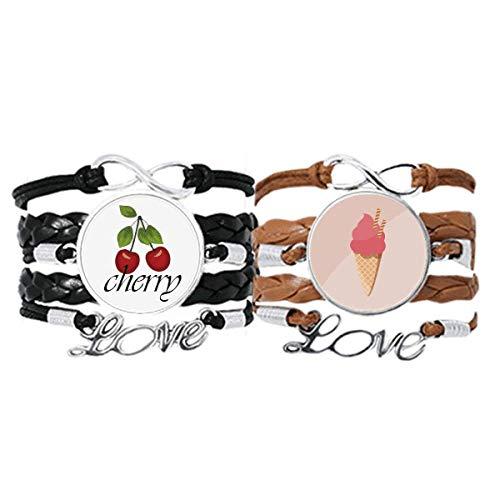 Bestchong Keks-Ei-Armband mit rotem Eiscreme-Armband, Handschlaufe, Lederseil, Kirschen-Liebesarmband, Doppelset