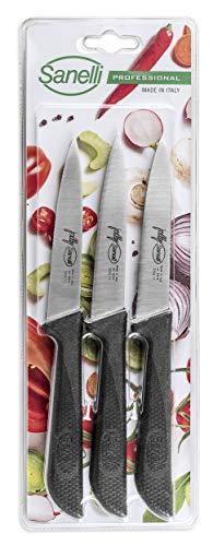 Sanelli, Juego de 3 cuchillos para pelar multiusos microserrado de 11 cm