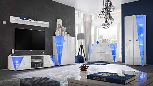 Set de pared para salón con iluminación LED, color blanco brillante, armario pared 21