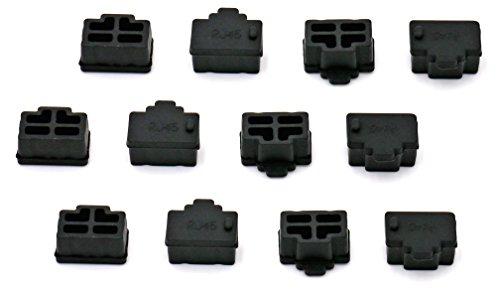 iExcell 12 Pcs Black Ethernet Hub Port RJ45 Anti Dust Cover Cap Protector Plug