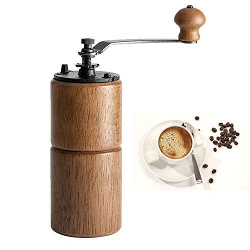 Kaffeemühle Manuell Holz, Kaffeemühle Hand Handkaffeemühle Espressomühle Präzise Mahlgrad-Settings, Tragbare Kaffee Mühle Aeropress für Zuhause, Büro und Reisen