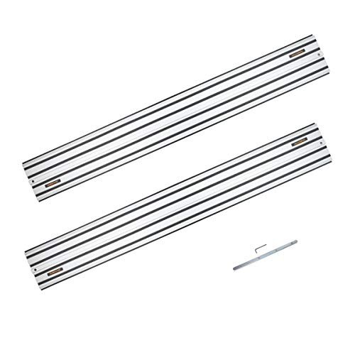 """POWERTEC 71505 55"""" Guide Rail Joining Set For DeWalt Track Saws   Includes (2) Aluminum Extruded Guided Rails and (1) Guide Rail Connector for Woodworking Projects"""