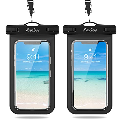 ProCase 2 Bolsas Impermeables Universales para iPhone 12 Mini/Pro/Pro MAX/iPhone SE 2020/XS Max/XR/X/8/7+/6S, Galaxy S20/S20+/S20 Ultra 5G/S10/S10e/S9/S9+/Note8, Huawei Xiaomi LG BQ hasta 7' -Negro