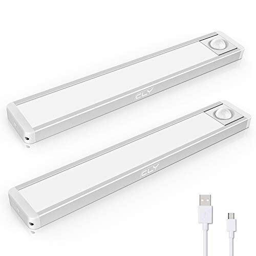 Luz LED Armario con Sensor de Movimiento, CLY 2 Packs Lámpara Nocturna USB Recargable, 3 colores y 2 Modos, 500mA Luz del Armario Luz de Lectura para Cabecera, Sótano, Cocina, Gabinete - 24cm