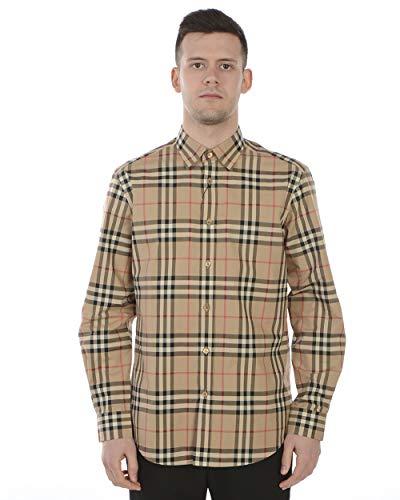 BURBERRY Camicia Manica a Lunga in Cotone Uomo 8020863 Caxton Check Beige (S)