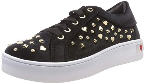 Love Moschino Damen Scarpad.Gomma35 Velluto Sneaker, Schwarz (Nero 000), 37 EU