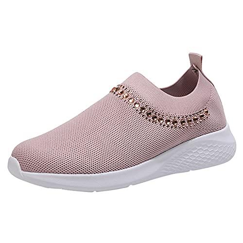 Uribaky - Zapatillas de running para mujer, transpirables, con cristales, Rosa (rosa), 38 EU