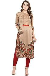 Janasya Womens Brown Poly Silk Straight Floral Print Kurta