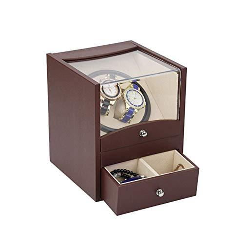 Sunmong Caja enrolladora de Reloj automática, Carcasa de Madera, Almohada de Cuero, Estuche de Almacenamiento de Madera de Lujo 2 + 2 (Color: marrón)