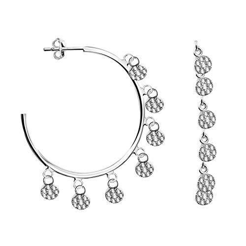 SOFIA MILANI - Damen Ohrringe 925 Silber - mit Zirkonia Steinen - Kreis Steck Creolen als Kreis - 20818