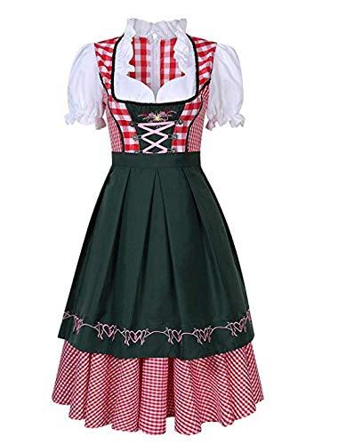 ACHICOO Festa dei Cosplay Costume da Oktoberfest Vestito da plaid bavarese Costume da cameriera di Halloween Party Dark green L=38