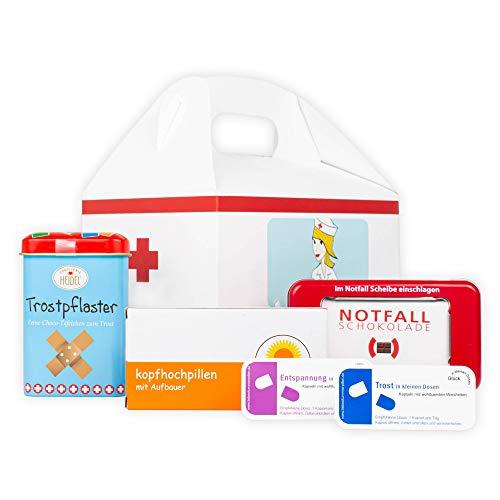 Erste Hilfe Geschenk-Box - Gute Besserung Geschenke - Witzige Süßigkeiten - mit Notfallschokolade, Trostpflaster ideal als Geburtstags-Geschenk (5-teilig)