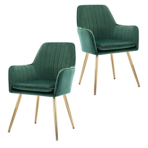 GOLDEN BEACH Velvet Dinning Chair Set of 2 Mid-Back Accent Chair Modern Leisure Armchair with Gold Plating Legs Upholstered Living Room Chair (Royal Green-2PCS)