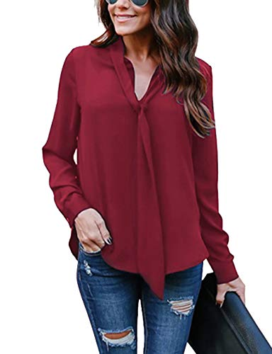 Cassiecy Damen Bluse Elegant Chiffon V-Ausschnitt Langarm Casual Oberteil Lose Langarmshirt V-Ausschnitt Vintage Tunika Hemd T-Shirt (S, z_Weinrot)