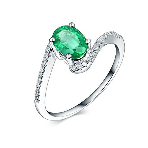 Amody Anillo de Compromiso de Oro 10K, Anillo Matrimonio Ola Forma 0.75ct Ovalada Forma Esmeralda con 0.1ct Diamante Tamaño 21