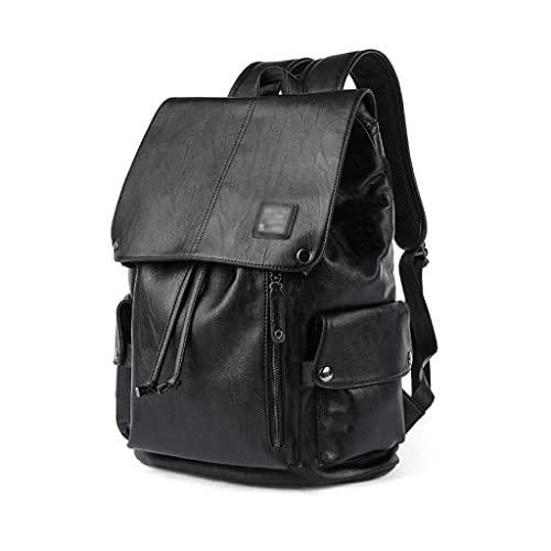 WQXD Vintage Hombres PU Mochila de Cuero 15 Pulgadas Bolsa de Laptop de 15 Pulgadas Impermeable Mochila Gran Capacidad Casual Viaje Universidad Daypack Negro (Color : Black, tamaño : 15 Inch)