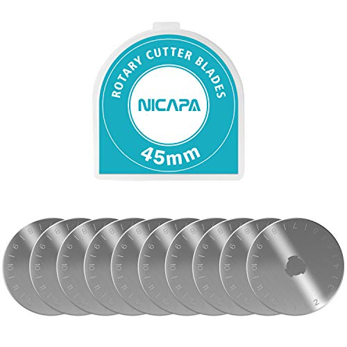 NICAPA 45mm Rotary Cutter Blades for Fiskars/Olfa/Dafa/Martelli Gingher Truecut Crafting Sewing Quilting Great for Fabric,Sewing, Leather and Paper,10pcs