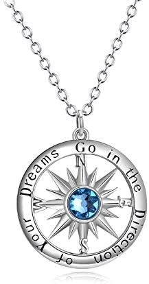 AOBOCO Sterling Silver Compass Jewelry Popular Necklace for Males Husband Son Teens Boys College product image