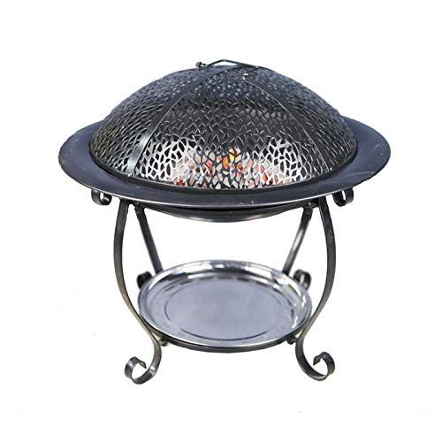Estufa multifuncional de color negro, calentador redondo para jardín y patio al aire libre, apto para camping, picnic, hoguera, patio, jardín