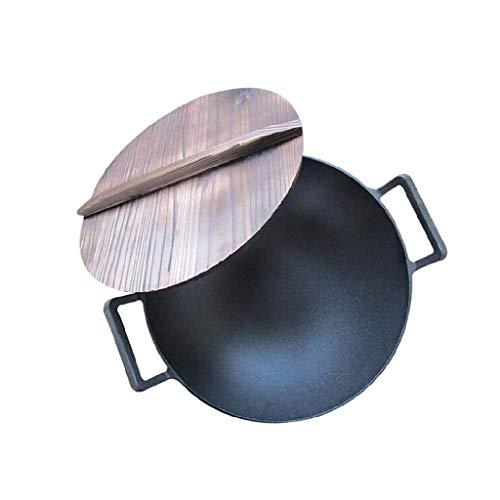 DSFEOIGY Tradicional mano martillado acero al carbono Pow Wok, libre de toxinas, Healthy Wok, utensilios de metal inducción Lavavajillas Horno Caja de seguridad